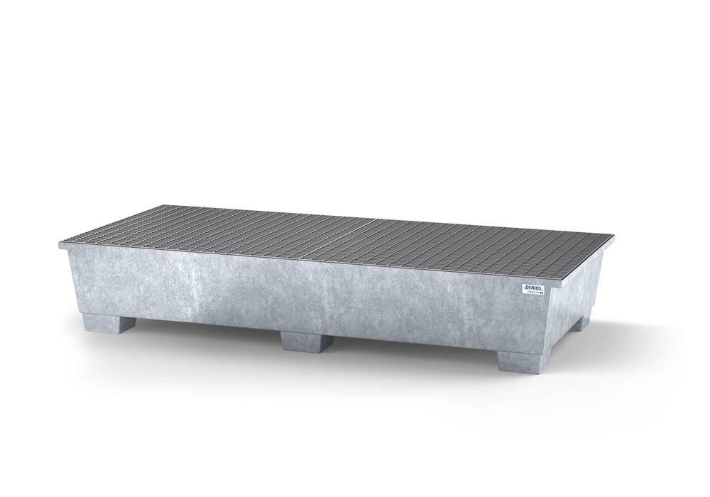 Spill pallet classic-line in steel for 2 IBC, galvanised, with 2 grids