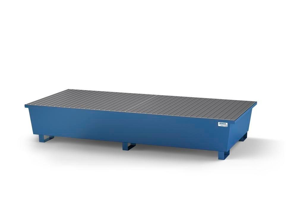 Spill pallet classic-line in steel for 2 IBCs, painted, 2 grids