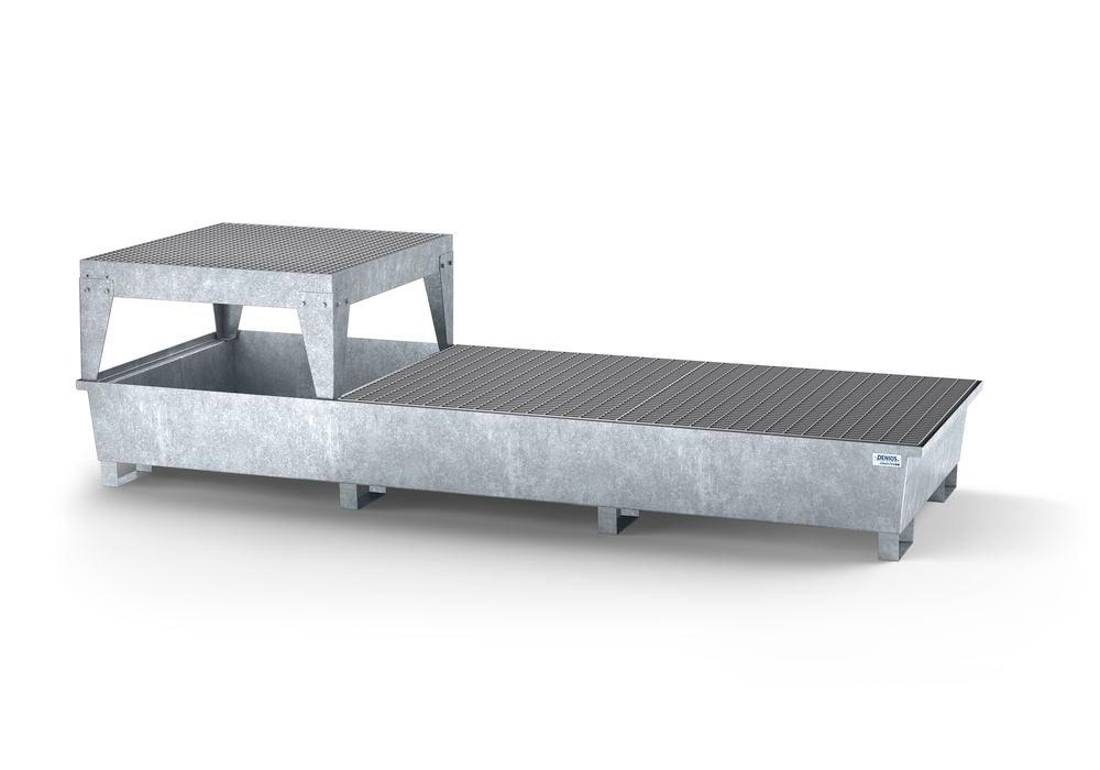 Spill pallet classic-line in steel for 3 IBCs, galv., 1 dispensing platform and 2 grids