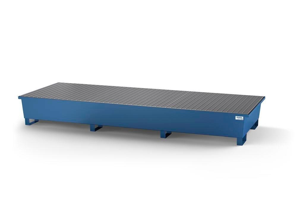 Spill pallet classic-line in steel for 3 IBCs, painted, 3 grids