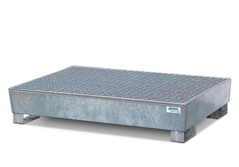 Spill pallet classic-line in steel for 4 drums, galv., access. underneath with grid, 1300x1780x343