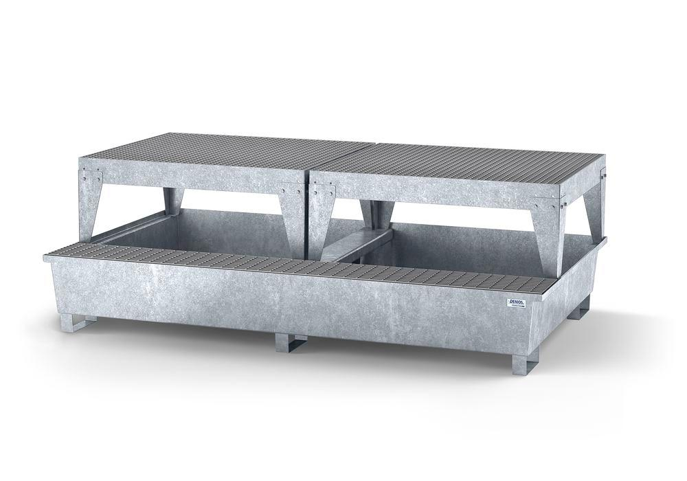 Spill pallet classic-line in steel with disp. area for 2 IBCs, galv., 2 dispensing platforms