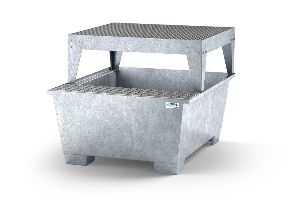 Spill pallet classic-line in steel with dispensing area for 1 IBC, galv., with dispensing platform