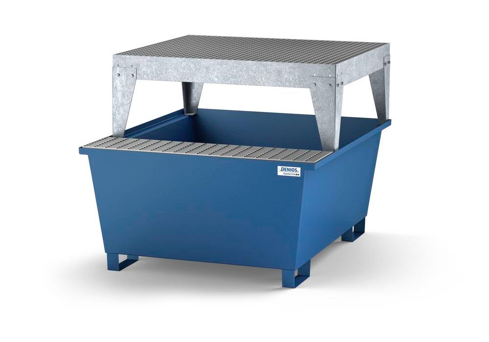 Spill pallet classic-line in steel with dispensing area for 1 IBC, painted, dispensing platform