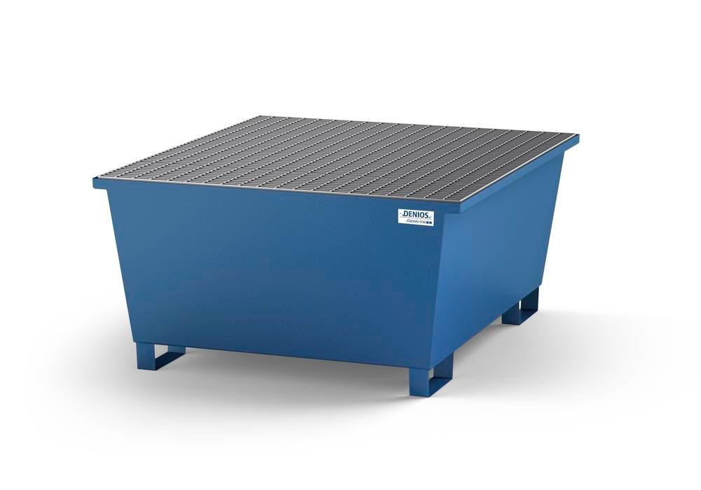 Spill pallet classic-line in steel with dispensing area for 1 IBC, painted, grid