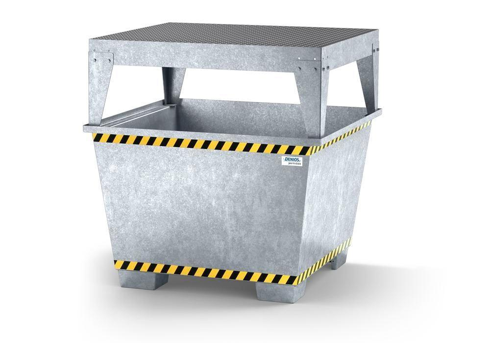 Spill pallet pro-line in steel for 1 IBC, galvanised, dispensing platform