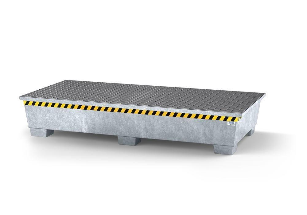 Spill pallet pro-line in steel for 2 IBCs, galvanised, 2 grids