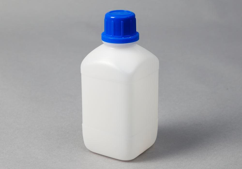 Narrow necked bottles in HDPE, square, natural-transparent, 500 ml, 15 pieces