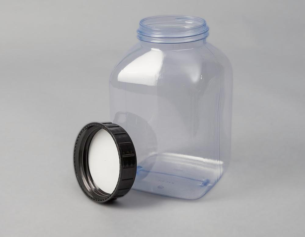 Wide necked bottles in PVC, square, natural-transparent, 2000 ml, 6 pieces