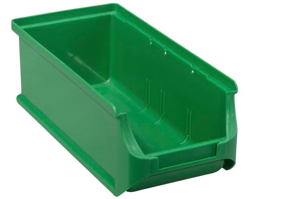 Open-fronted storage bins pro-line A2-L, PP, 100 x 215 x 75 mm, green, Pack = 20 pcs.