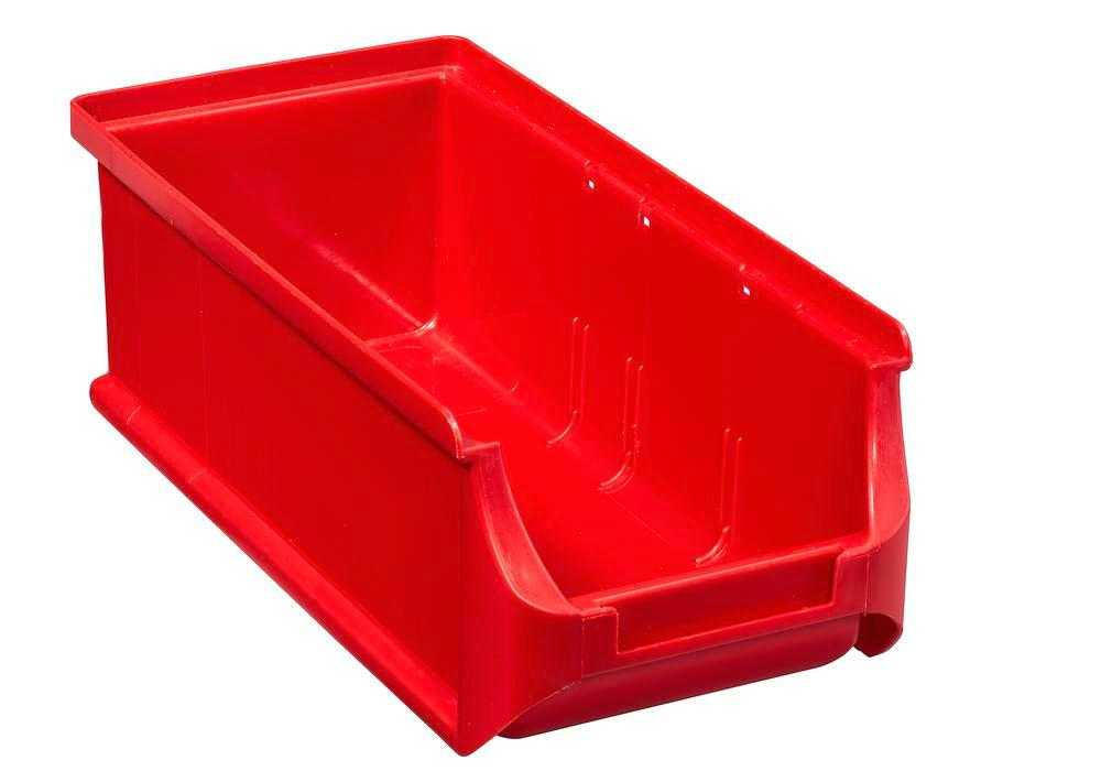 Open-fronted storage bins pro-line A2-L, PP, 100 x 215 x 75 mm, red, Pack = 20 pcs. - 1