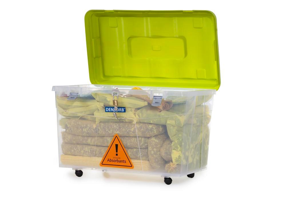 DENSORB Emergency Spill Kit in Transparent Box with castors, application SPECIAL
