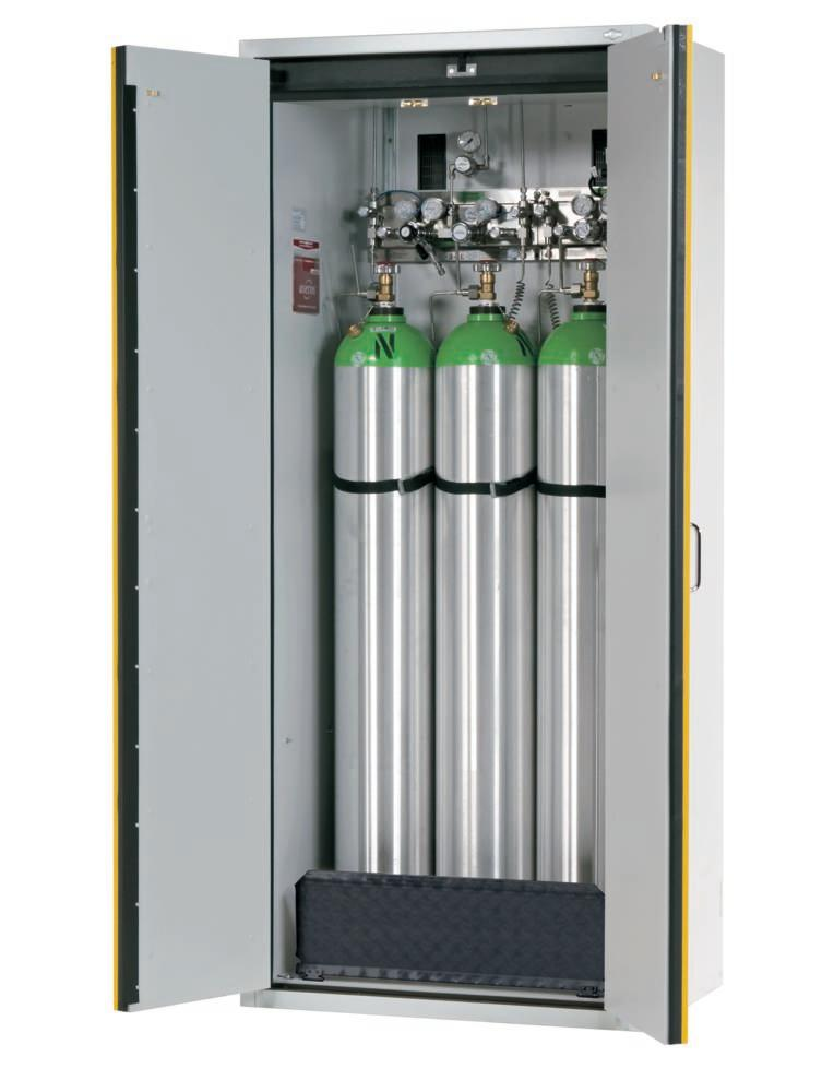 Fire-resistant compressed air gas cylinder cabinet G90.6, 900 mm wide, 2 hinged doors, yellow