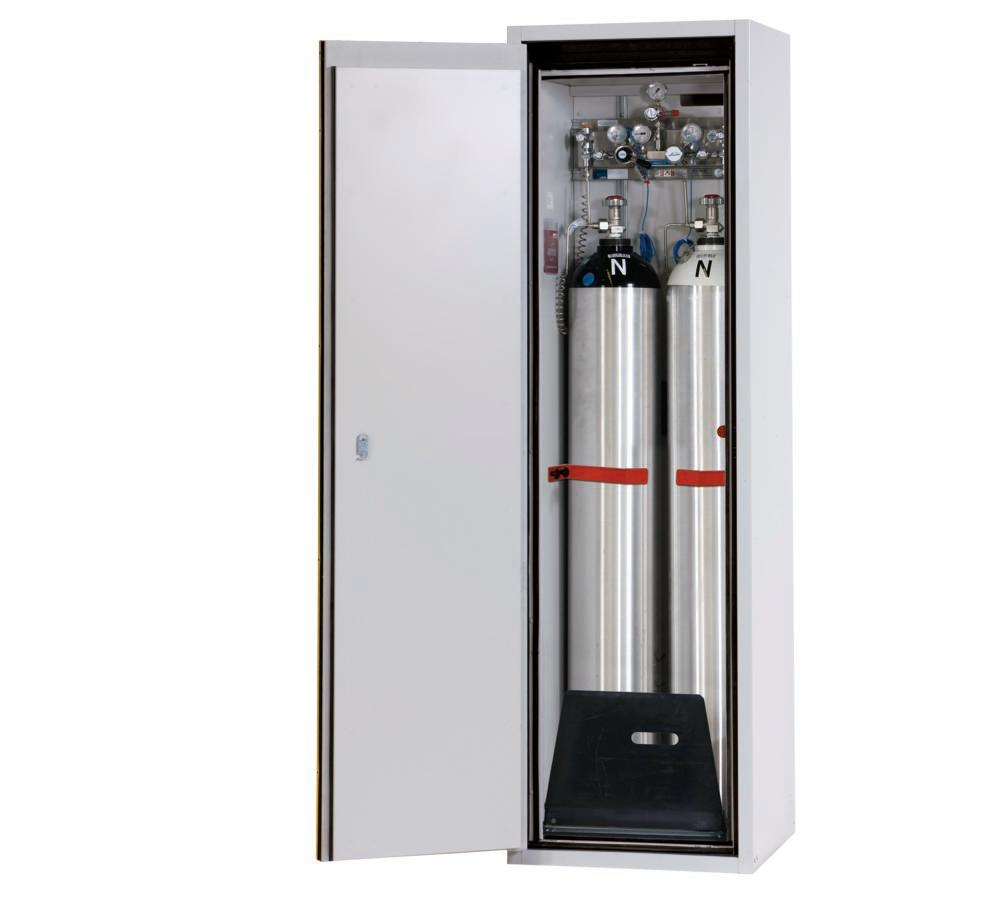 Fire-resistant gas cylinder cabinet G90.6-2F, 600 mm wide, door opening left, yellow