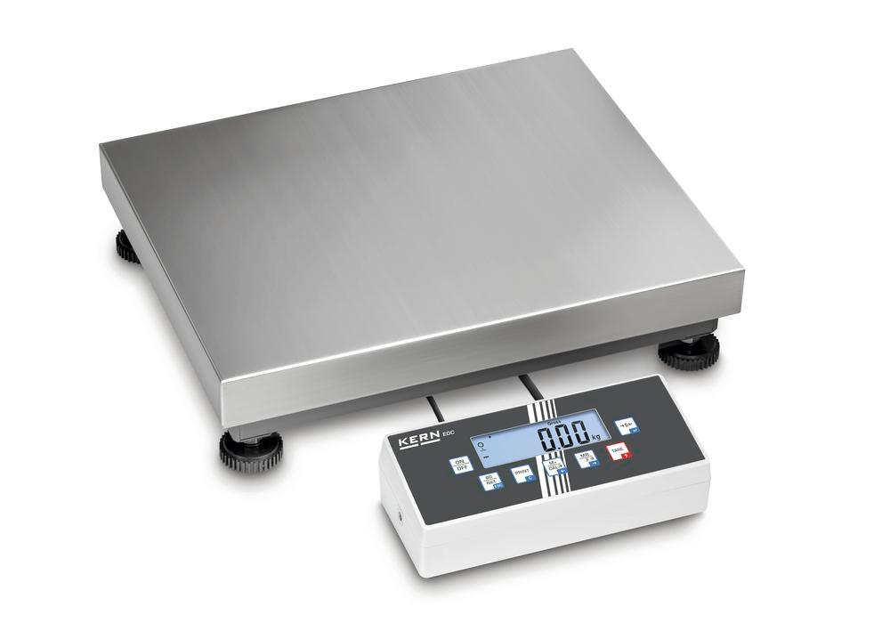 KERN two-range platform scale EOC, IP 65, up to 60 kg, weighing plate 500 x 400 mm
