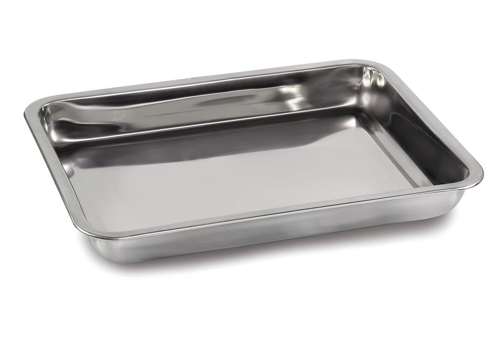 Tare pan in stainless steel, dimensions 370 x 240 x 20 mm