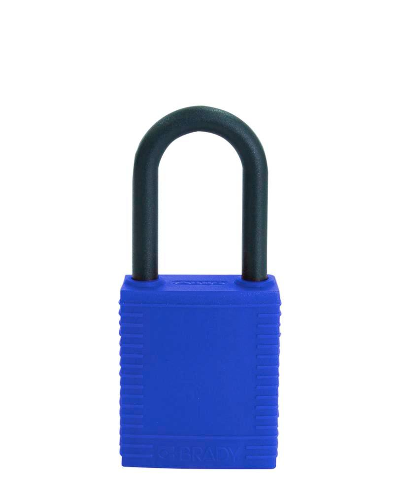 Safety lock with plastic coating, blue, non-conductive - 1