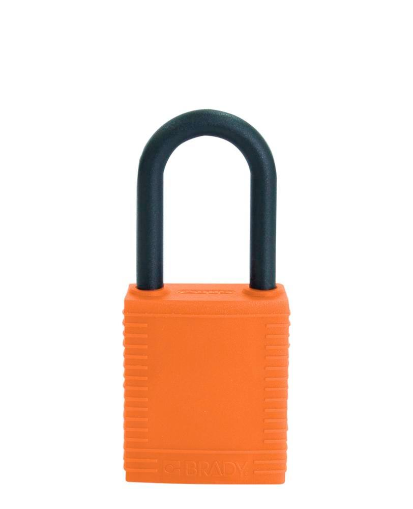 Safety lock with plastic coating, orange, non-conductive - 1