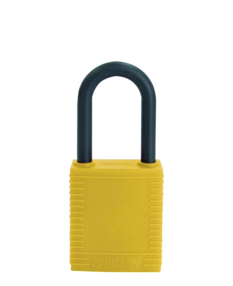 Safety lock with plastic coating, yellow, non-conductive