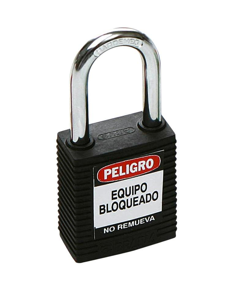 Safety lock with steel shackle, black, keyed to differ
