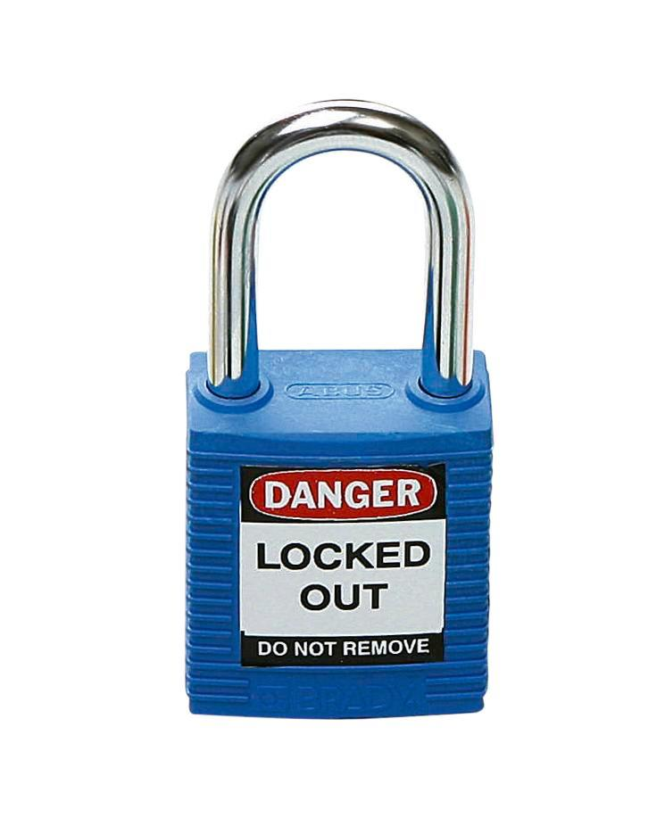 Safety lock with steel shackle, blue, keyed to differ