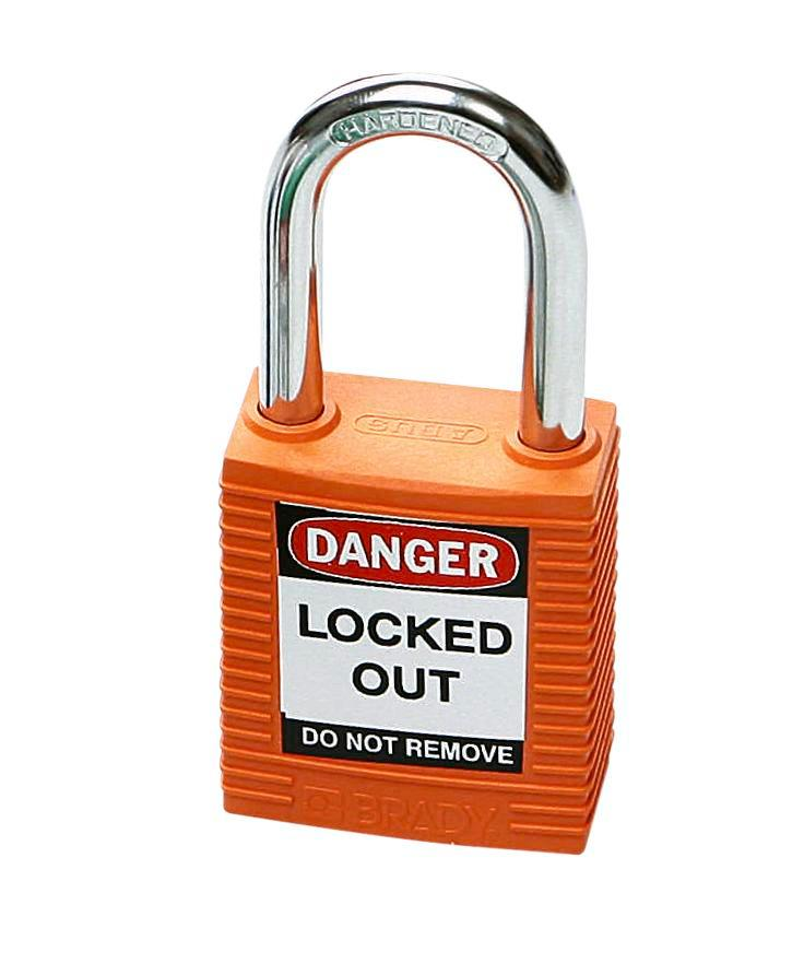 Safety lock with steel shackle, orange, keyed to differ - 1