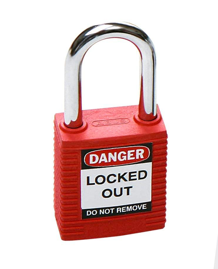 Safety lock with steel shackle, red, keyed to differ