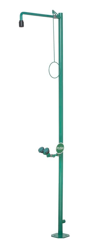 Body shower and eye shower, green, powder coated, floor mounting, BR 832 085 / 75L