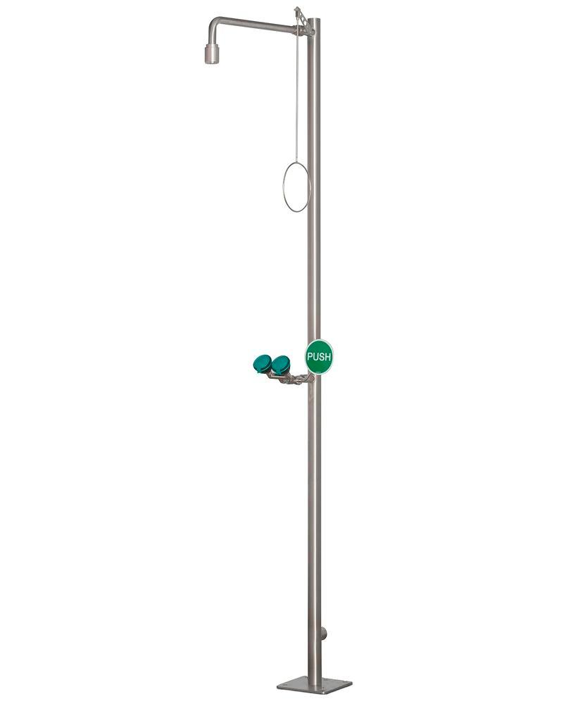 Body shower and eye shower, stainless steel, floor mounting, BR 832 095 / 75L