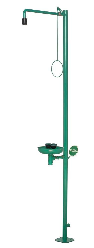 Body shower and eye shower with basin, green, floor mounting, BR 837 085 / 75L