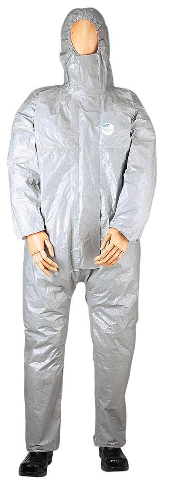 Chemical Protective overall Tychem F, CE/PPE category III, models 3, 4, 5, 6, size M, grey