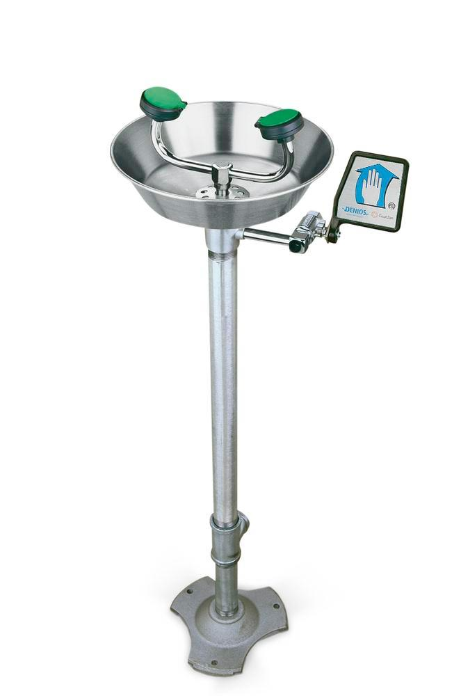 Eye and Face Shower, Model G 170, Stainless Steel basin, to be secured to the floor, green