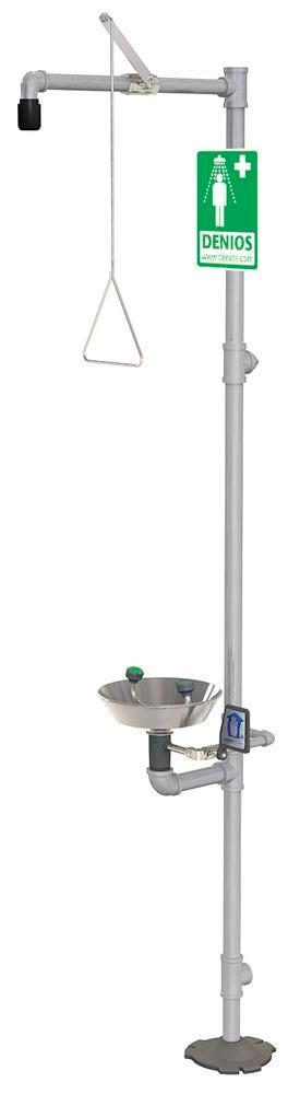 Full body and eye shower, G 1902, with a stainless steel basin for the eye and face shower