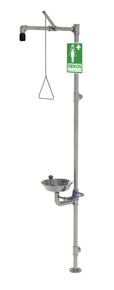 Full body and eye shower, G 1991, made from stainless steel, with basin for the eye and face shower