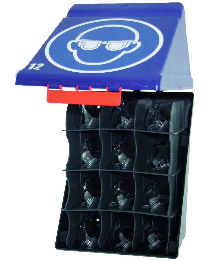 Maxibox, for storing 12 pairs of safety glasses, blue