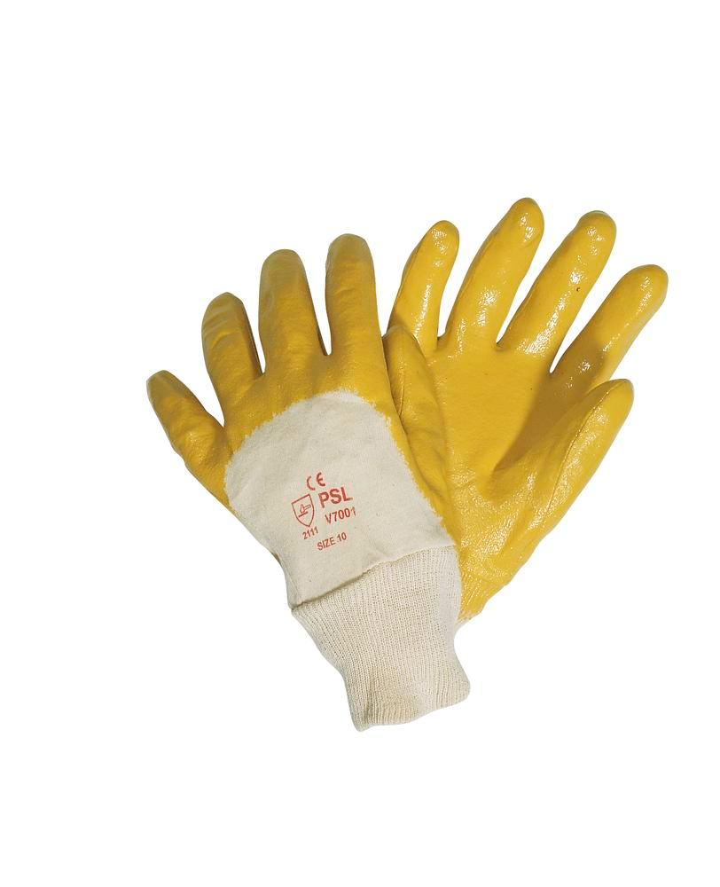 Nitrile Rubber Gloves, Category II, Size 10, yellow, 12 pairs per pack