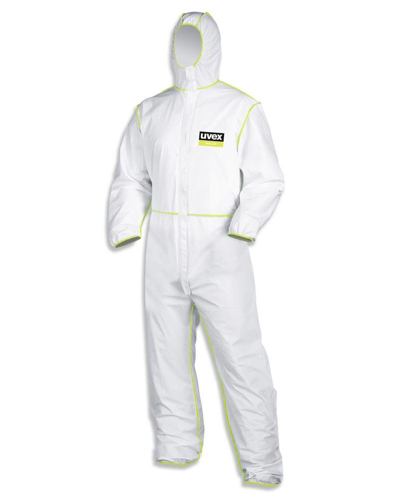 Chemical protection overall uvex 5/6, Category III, Model 5/6, white/lime, Sz. XXXL