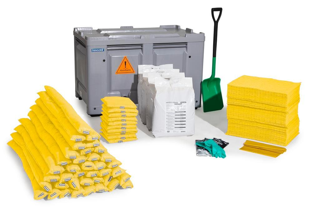 DENSORB Emergency Spill Kit in Transport Box, stationary, application SPECIAL