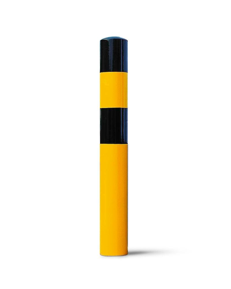 Impact protection bollard in steel for setting in concrete, Ø 90 mm, H 1200, yellow/black