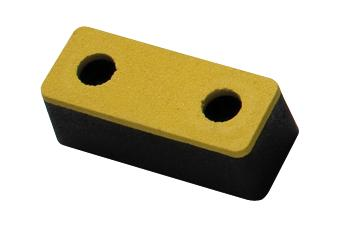 Impact protection buffer 1, rubber, black with yellow surface, 153 x 63 x 55 mm