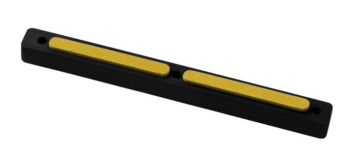Impact protection buffer 8, rubber, black with yellow surface, 460 x 45 x 34 mm
