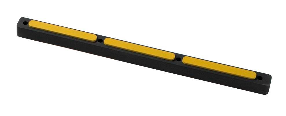 Impact protection buffer 9, rubber, black with yellow surface, 665 x 45 x 34 mm