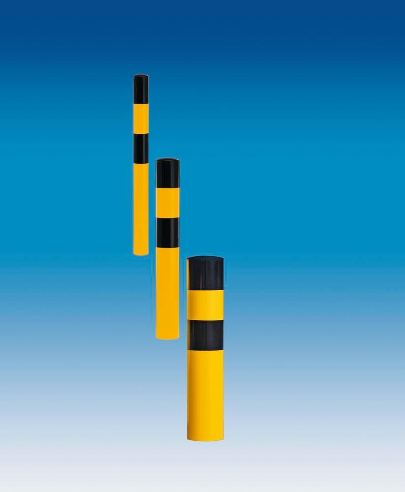 Impact protection elements XL , hot-dip galvanised, yellow/ black, Ø 194 mm, 1200 mm