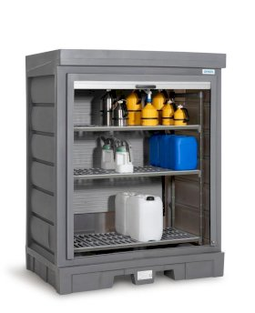 PolySafe Depot D, with plastic shelf, for small containers with roller shutter door-w280px