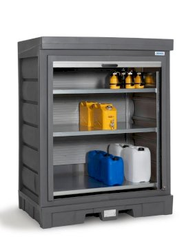 PolySafe depot D, with steel shelf, for small containers with roller shutter door-w280px