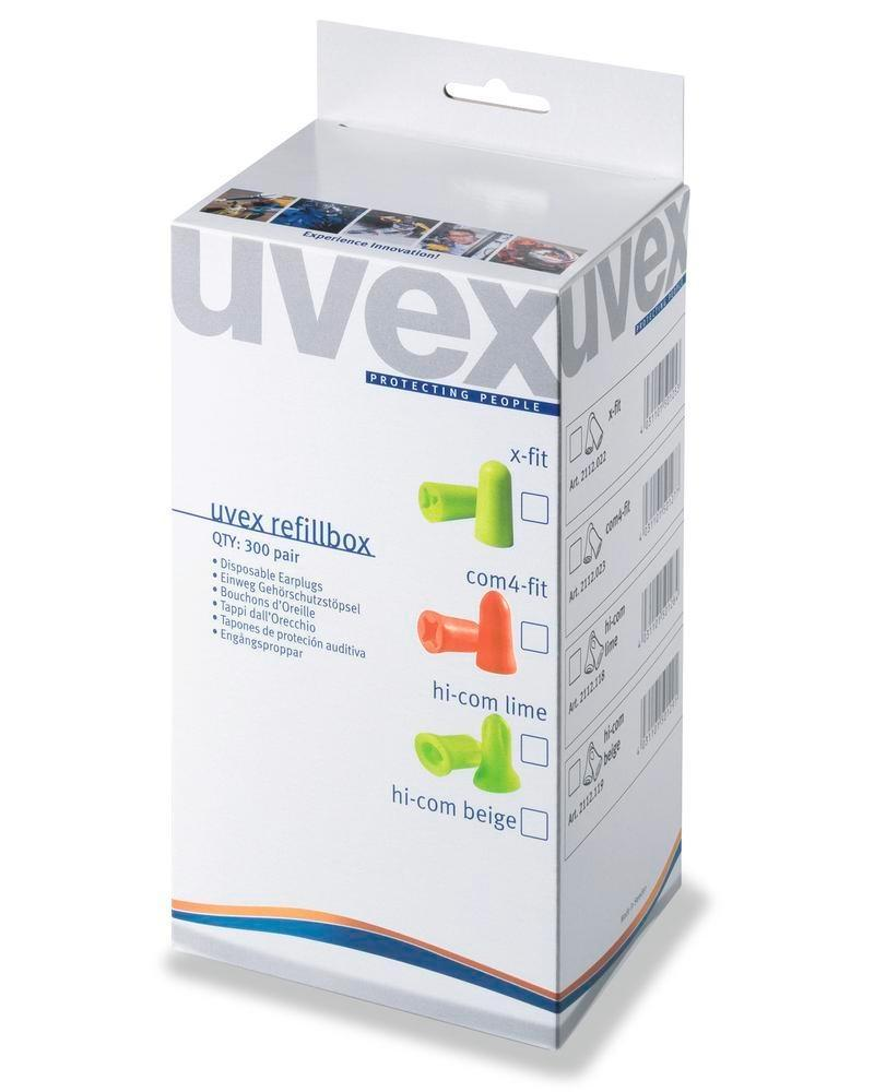 Refill box with 300 pairs of disposable hearing proteciton uvex x-fit SNR 37 colour lime - 1