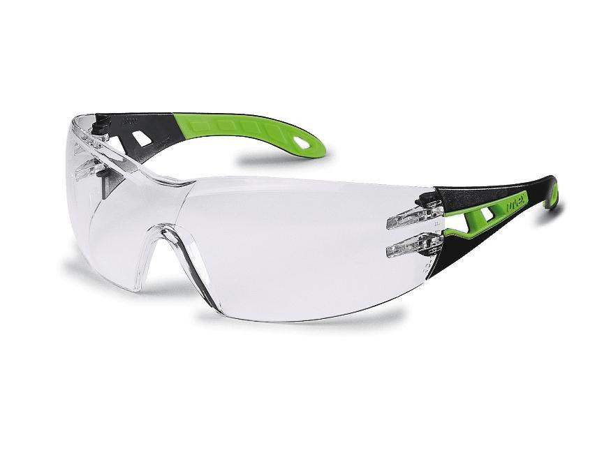 Safety spectacle uvex pheos 9192, black/green with clear polycarbonat lense