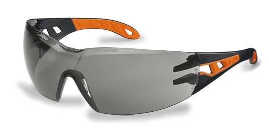 Safety spectacle uvex pheos 9192, black/orange with grey polycarbonat lense