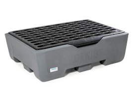 Spill pallet pro-line in polyethylene (PE) for 2 drums, with grid and leak indicator-w280px