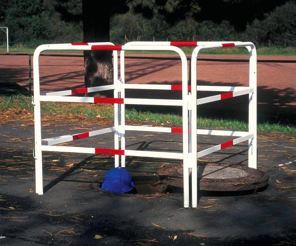 Steel Manhole Barrier with Red Reflective Stripes